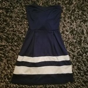 Charlotte Russe XS blue and white striped dress